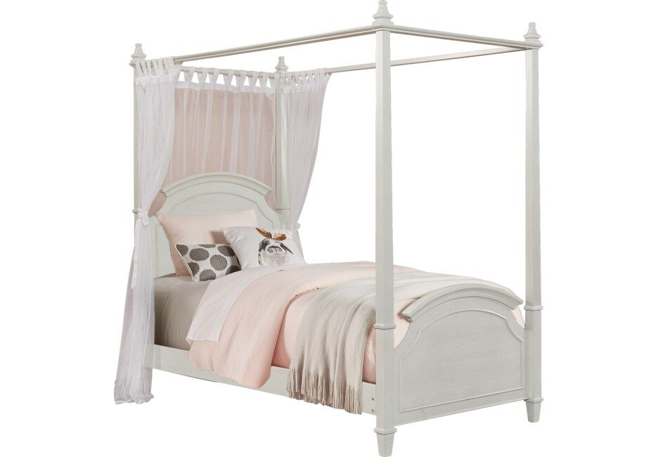 Kids Brooklyn Lane White 4 Pc Twin Canopy Bed Twin Canopy Bed Full Canopy Bed Canopy Bed