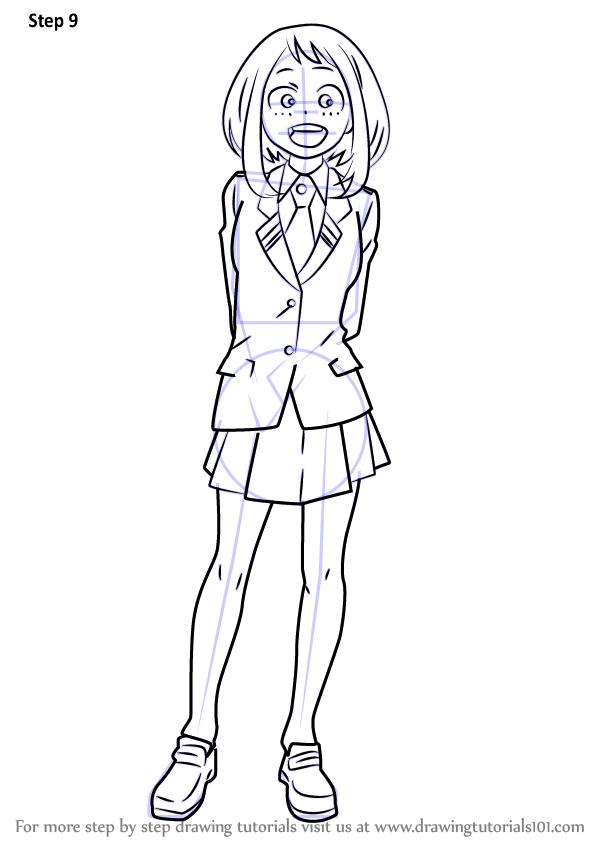 Learn How To Draw Ochaco Uraraka From Boku No Hero Academia Boku No Hero Academia Step By Step Drawing Tutor Easy Drawings Anime Character Drawing Drawings