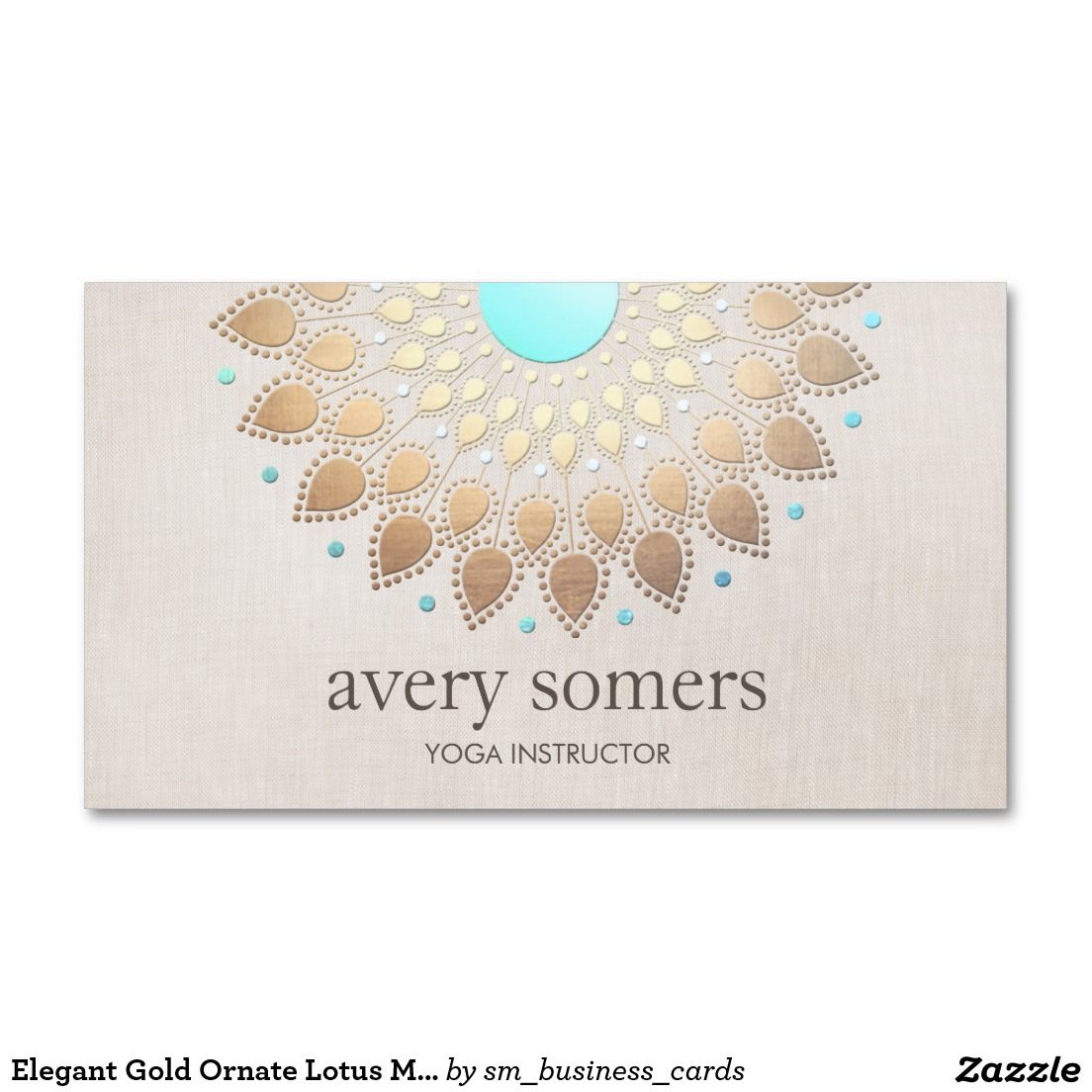 Elegant gold ornate lotus mandala beige linen look business card reheart Image collections