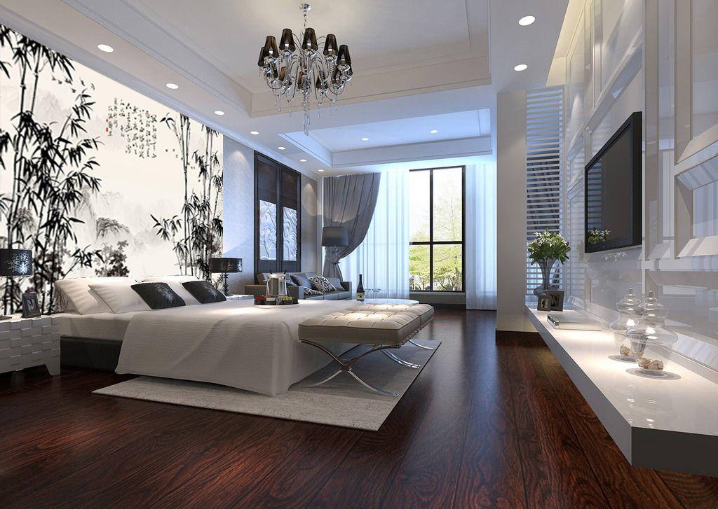 Papier peint chinois paysage avec les bambous en noir et for Idee tapisserie chambre adulte