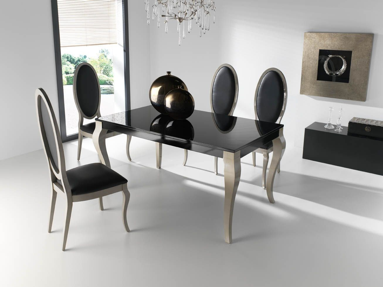 Mesa comedor moderna laca negra Chipendale | Leather Items ...