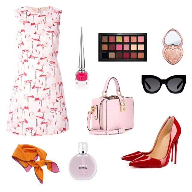 """""""Untitled #63"""" by lolarkonkey on Polyvore featuring RED Valentino, Christian Louboutin, Huda Beauty, Karen Walker, Dolce&Gabbana, Christian Dior, Too Faced Cosmetics and Chanel"""