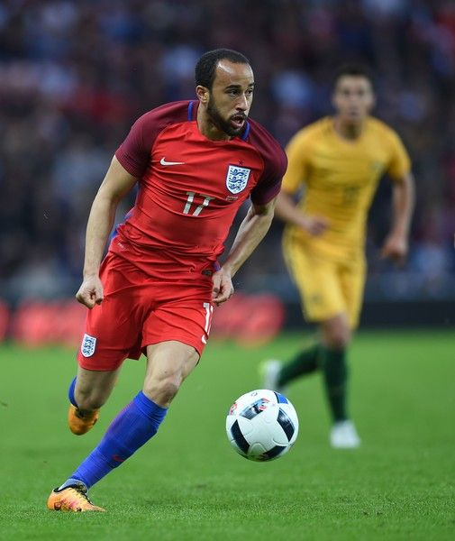England's midfielder Andros Townsend (L) in action during the friendly football match between England and Australia at the Stadium of Light in Sunderland, north east England, on May 27, 2016. / AFP / PAUL ELLIS / NOT FOR MARKETING OR ADVERTISING USE / RESTRICTED TO EDITORIAL USE