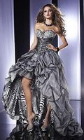 Buy Strapless High-Low Gown, Silver Animal Print Prom Dress Online Dress Store At LuckyGown.com