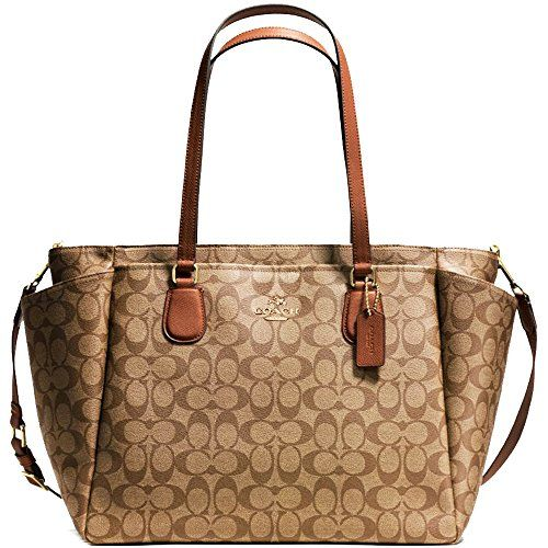 d08539fc4159 ... discount new authentic coach signature large new york baby diaper bag  khaki saddle leather 6c460 1121e