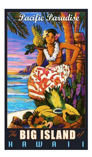 Hawaiian Girl Aloha Flowers Paradise Vintage Art Poster Print Giclee
