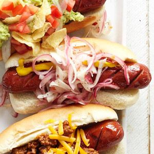 Tube Steaks with a Pickled Onion Relish