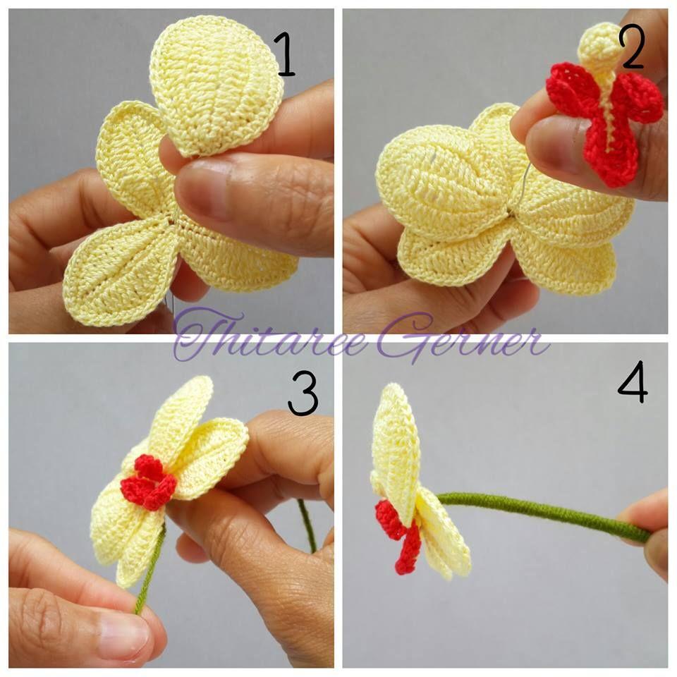 Croche e Pontos: Flor passo a passo   croche   Pinterest   Blüten ...