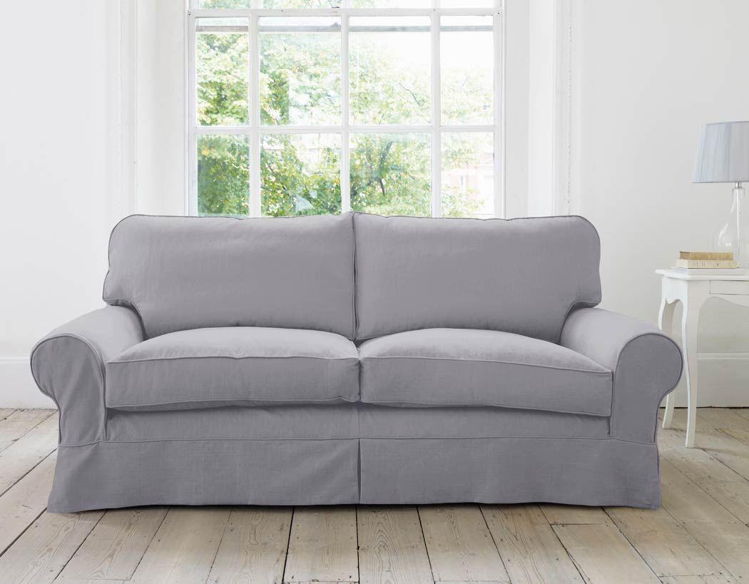 The Blenheim Sofa Medium Slip Cover Cotton Linen Turtle Dove