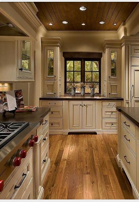 Homey Kitchen elegant but homey kitchen with vanilla bean colored cabinets mixed