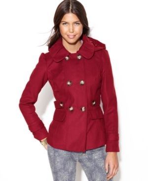 Juniors Double Breasted Hooded Pea Coat | Pink, Coats and Shops