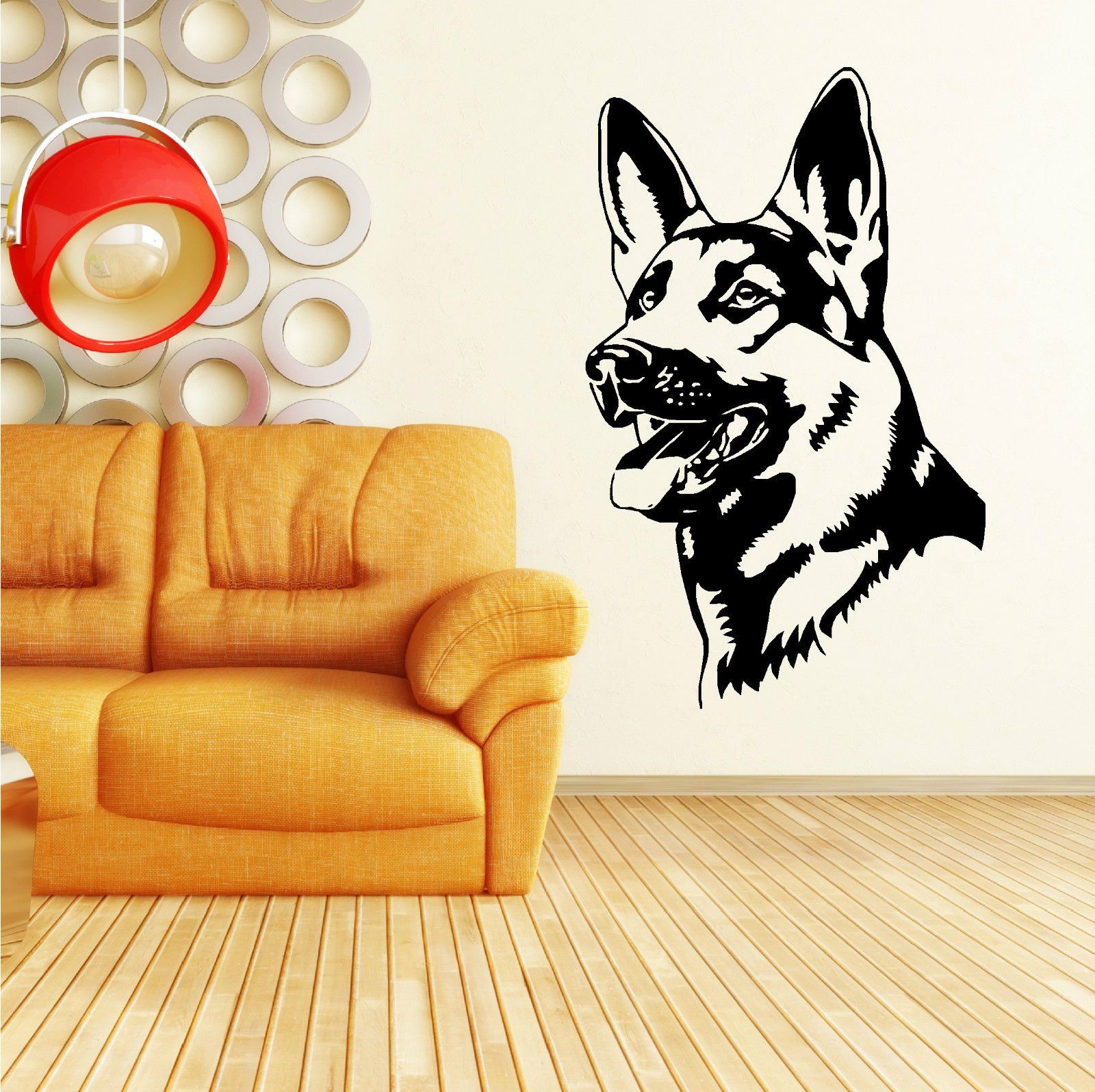 QT020 GERMAN SHEPHERD ALSATION DOG Vinyl wall art sticker Removable ...