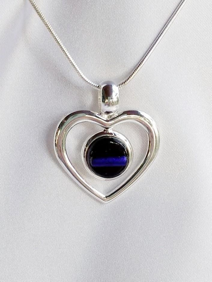 Thin blue line police silver heart fused glass jewelry pendant thin blue line police silver heart fused glass jewelry pendant necklace aloadofball Image collections
