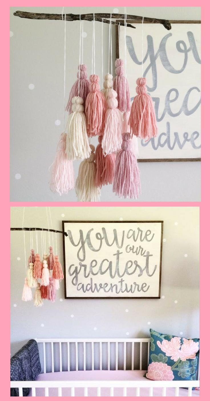 Beautiful yarn baby mobile for girl nursery lovely decor idea for a
