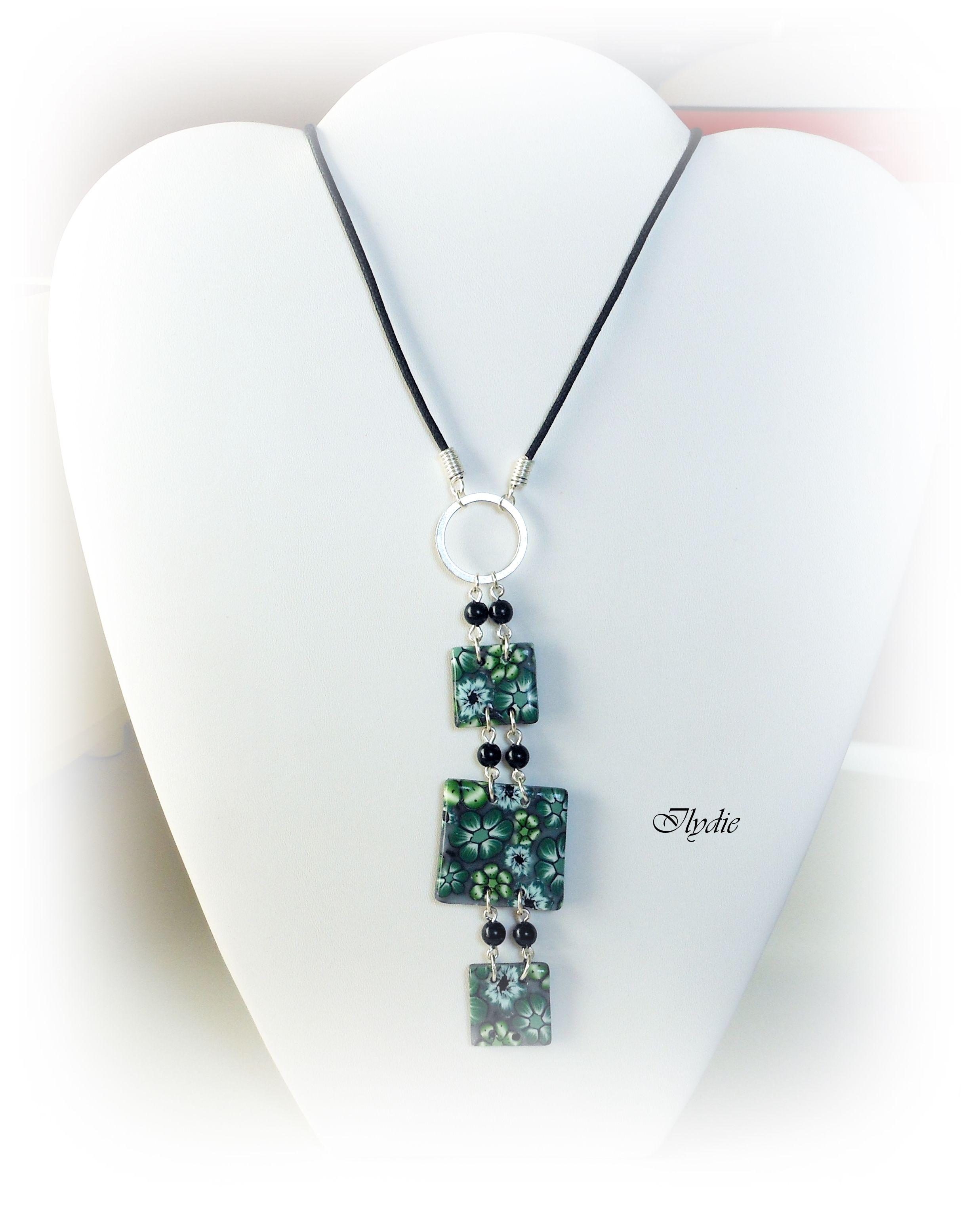 Pe27 (2013) Pendentif fleur cane fimo vert | Bijoux mode, Pendentif, Bijoux