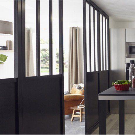 Cloison Décorative Pleine Et Vitrée Atelier X Cm Noir - Table pliante 240 cm pour idees de deco de cuisine