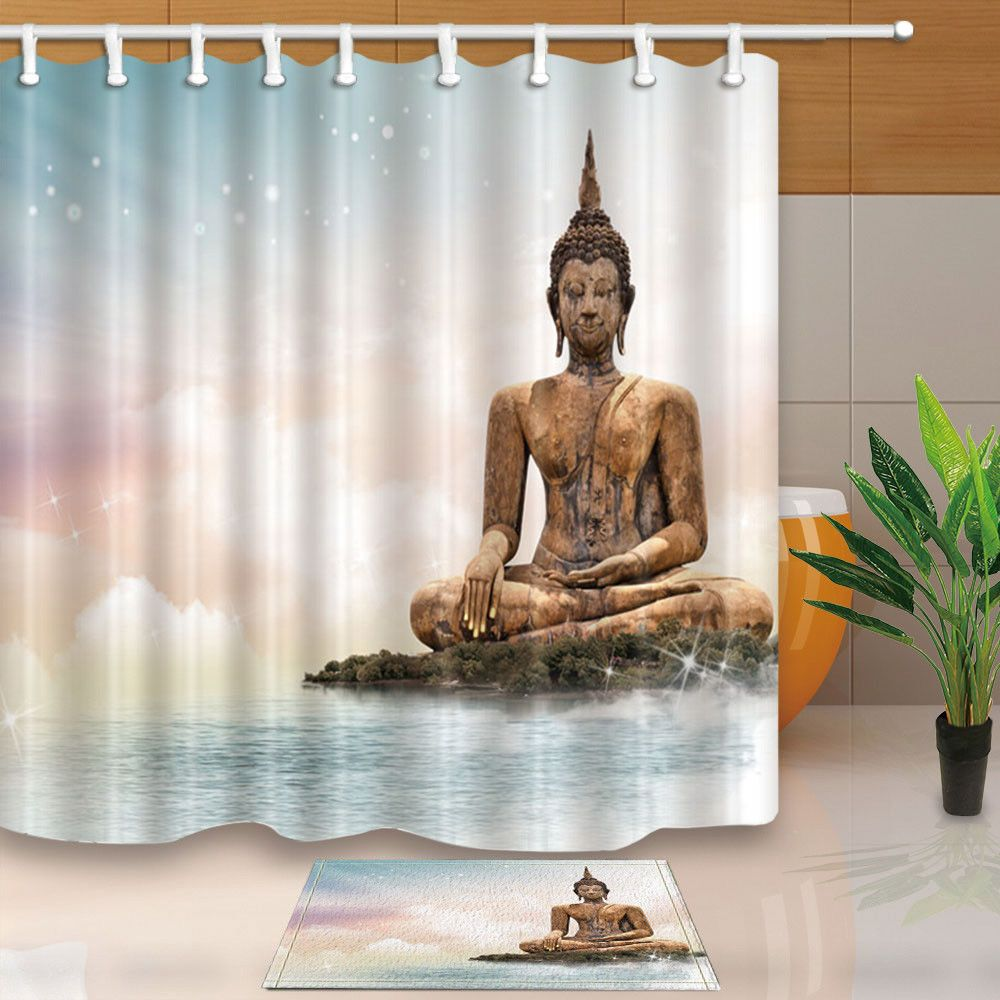 Big Buddha Statue Shower Curtain Bathroom Waterproof Fabric