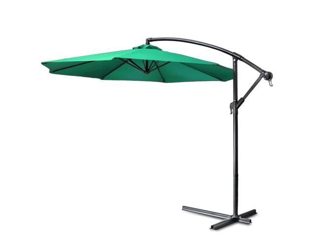 Patio Umbrella Offset 10u0027 Feet Polyester Hanging Off Set Folding Outdoor  Sun Shade Crank With Cross Base Set Market Garden Lawn Yard Furniture Pool  Side ...