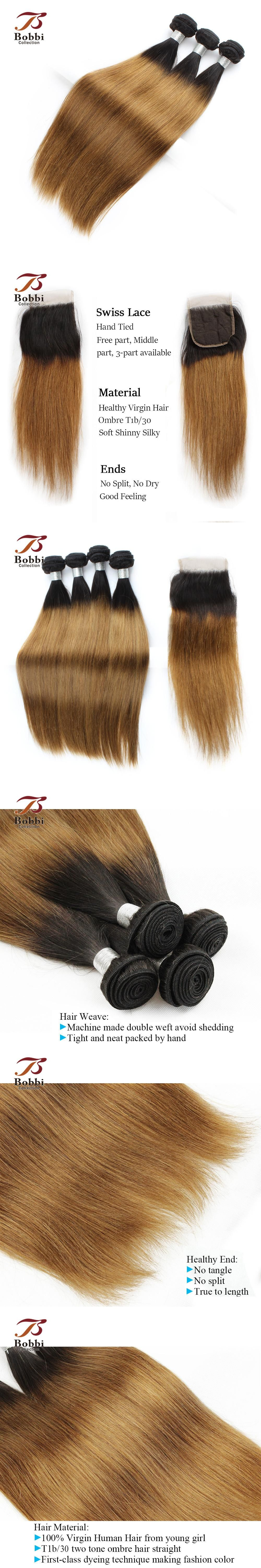 Ombre Malaysian Hair Weave Bundles T 1b 30 Two Tone Straight Human