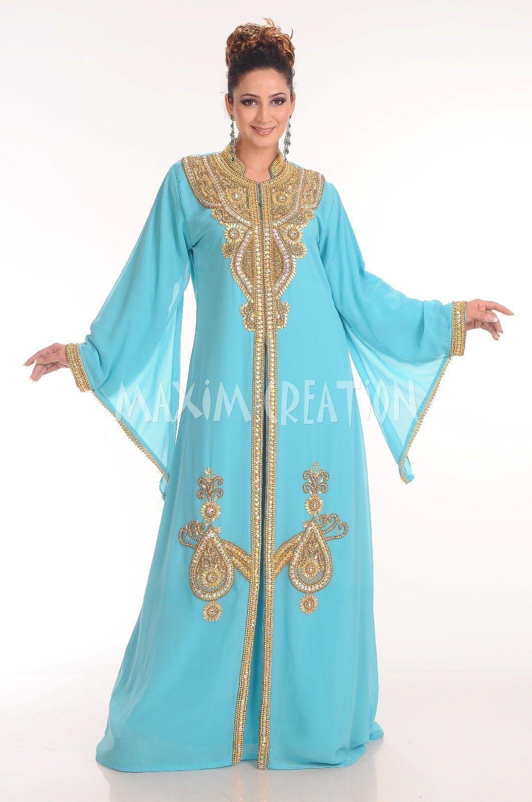 Dubai Farasha Moroccan Kaftan Dress Abaya Jilbab Islamic Arabian ...