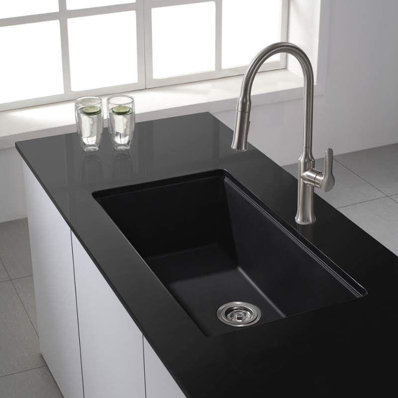 Kraus Kgu 413 Black Kitchen Sink Granite Kitchen Sinks