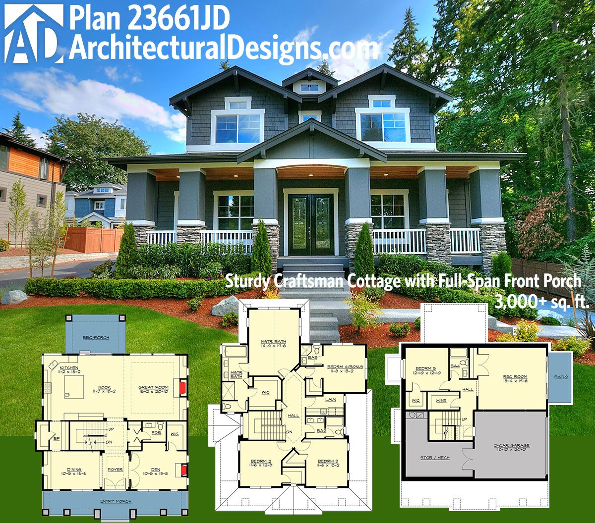 Plan 23661jd sturdy craftsman cottage with full span for Floor plans garage under house