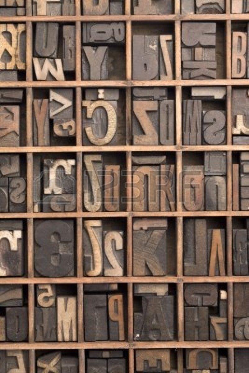 Drucker-Fach mit Buchdruck Buchstaben und Zahlen Stockfoto - 3468303