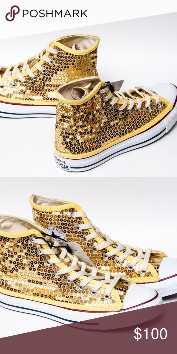 4b02d149dc8 Gold Hi Top Sequin Converse All Stars Sneakers • Never bee worn! • True to
