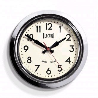 Small Electric Wall Clock In Chrome Design By Newgate