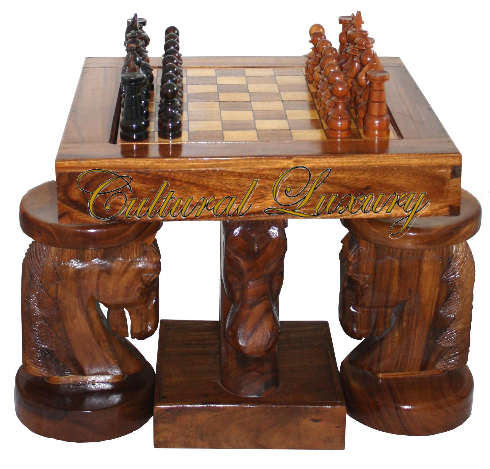 Horse Head Chess Table and Chairs Hand Carved One of a