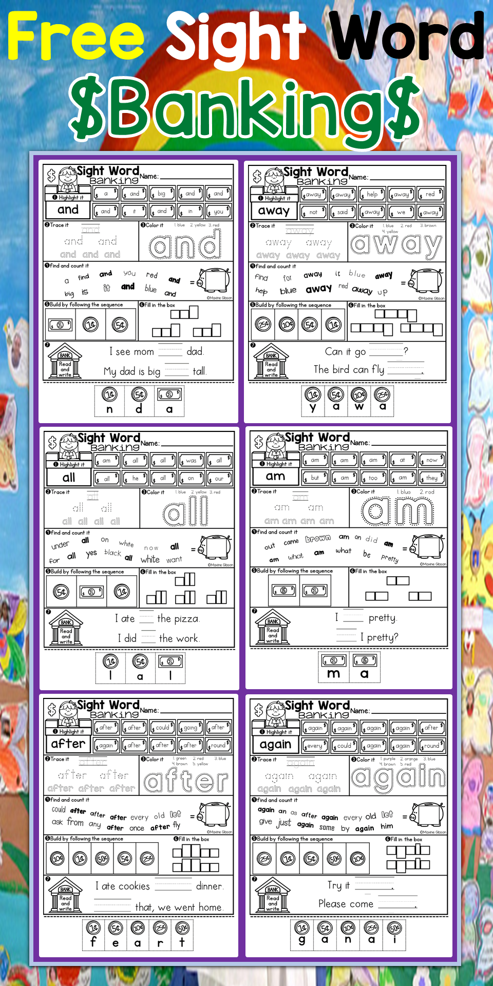 Free/ Kindergarten / First Grade / Sight Word Activities Worksheets ...