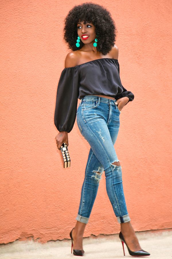 Off Shoulder Silk Blouse + Distressed High Waist Jeans (Style Pantry)