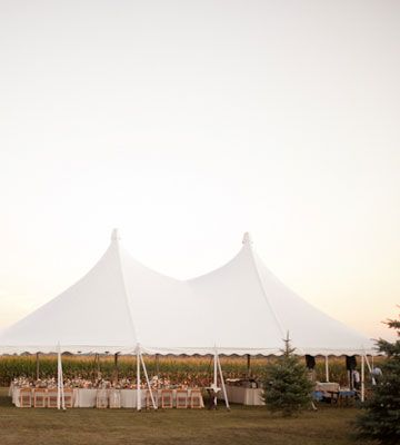 So pretty! A field of corn makes a lush backdrop for an  outdoor reception.