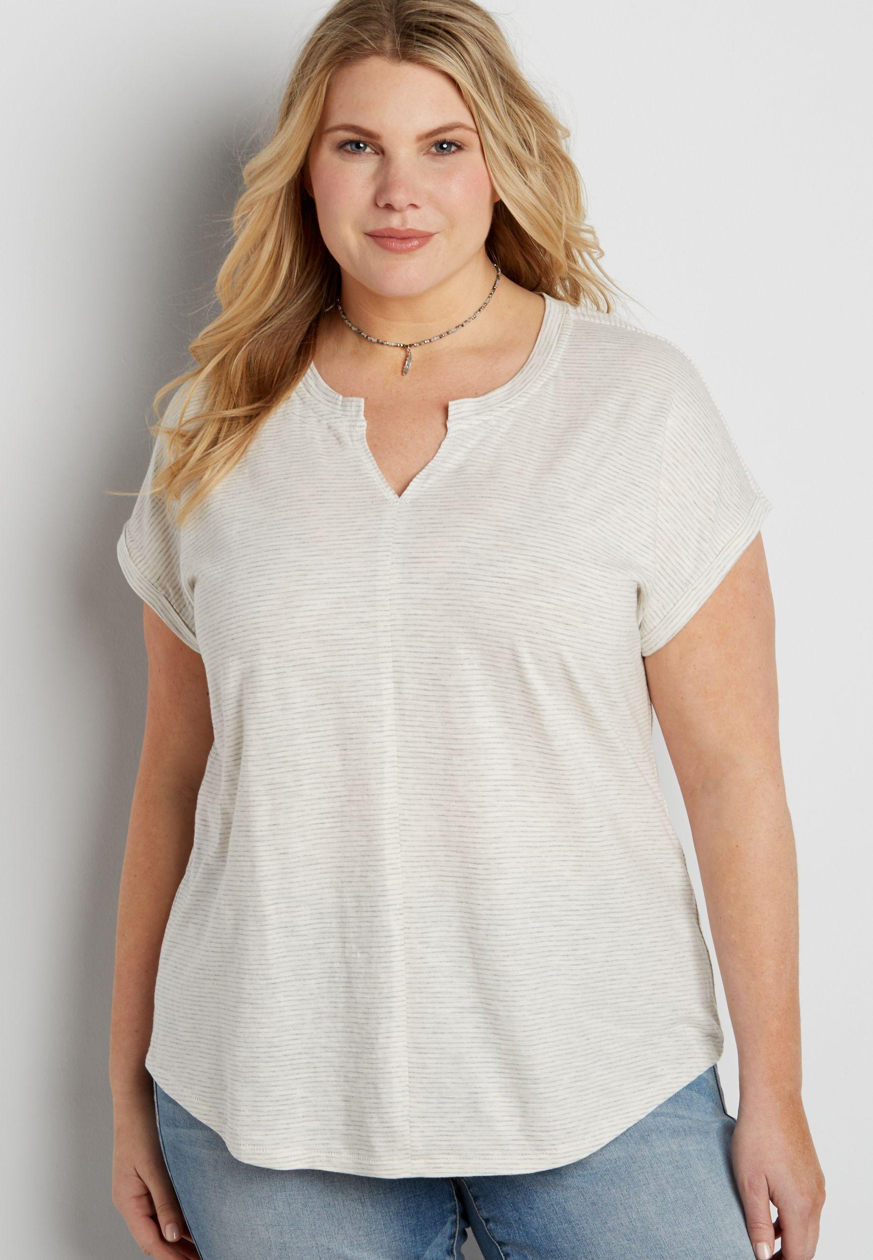 ffb8d97cc27 the 24 7 plus size striped t-shirt with split neckline (original price