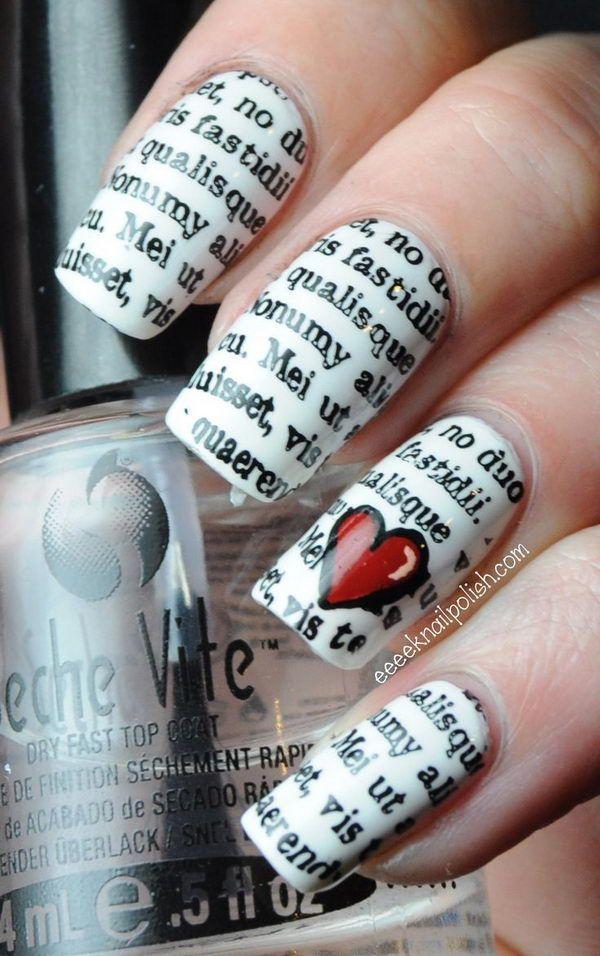 50 Valentine\'s Day Nail Art Ideas | Stencil designs, Water transfer ...