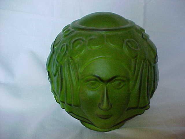 Art deco lady face green glass lamp shade art deco glass and art art deco lady face green glass lamp shade aloadofball Images