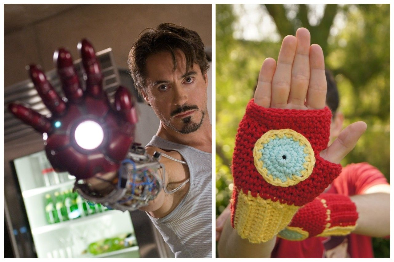 Halloweencrafts Diy Crochet Iron Man Fingerless Gloves Free Pattern From Louie S Loops Here Patterns Like This Diy Crochet Gloves Pattern Crochet Gloves
