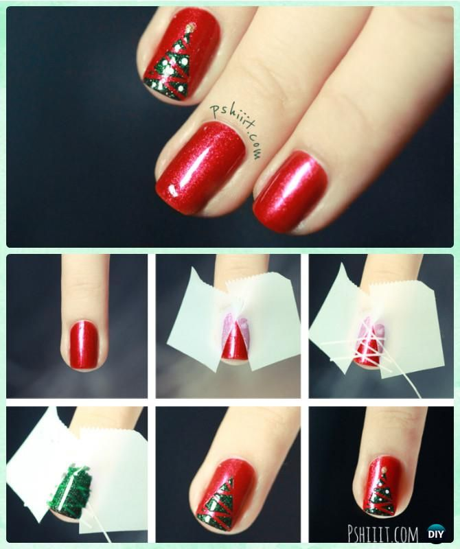 Diy Christmas Nail Art Ideas Designs Picture Instructions Christmas Nails Diy Tree Nails Xmas Nails
