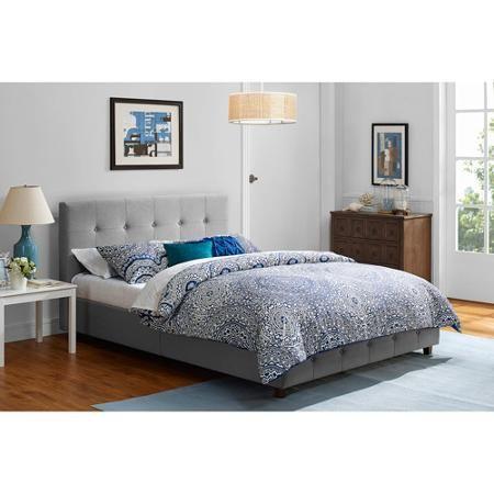 Rose Linen Upholstered Bed, Grey, Multiple Sizes - Walmart.com ...