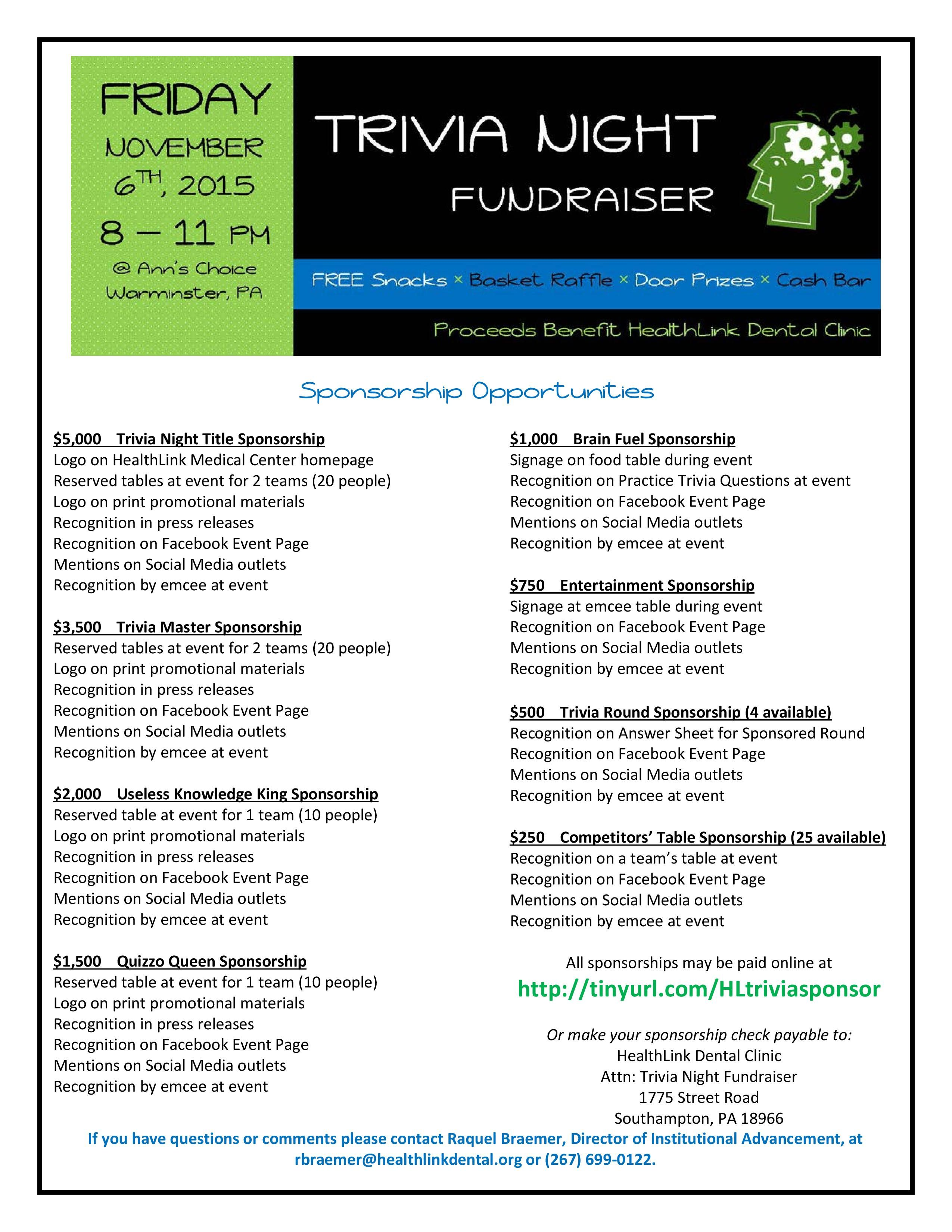 Sponsorship opportunities are available to local businesses to support trivia night fundraiser 11 6