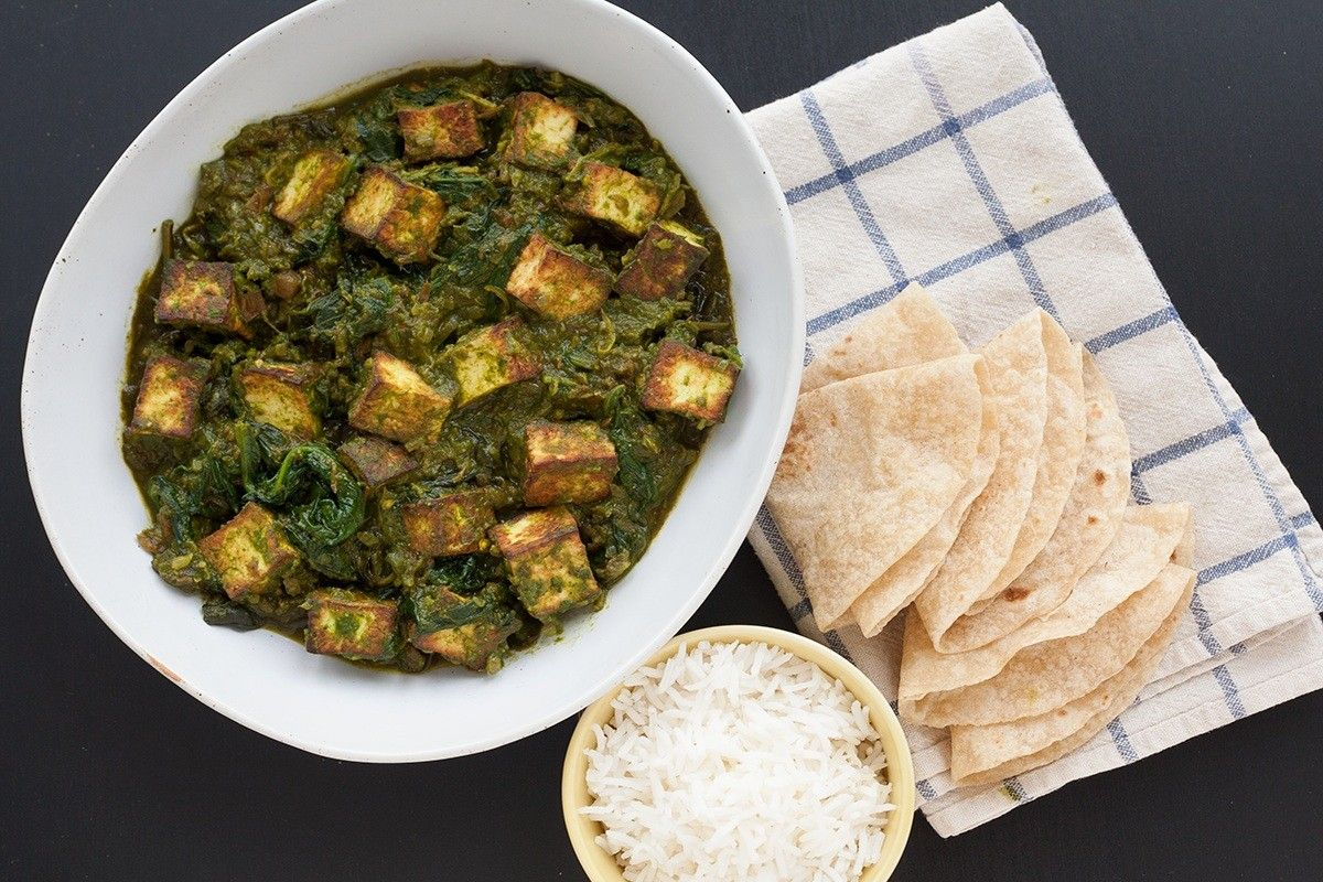 Saag Paneer (Spinach with Indian Cheese)
