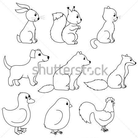 Conjunto DE Contornos Animales, Como El Conejo, Ardilla, Perro, Gato ...