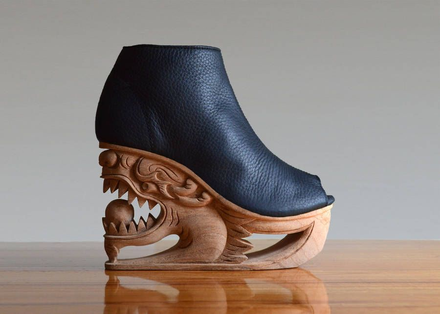 Beautiful Shoes With Wooden Sculpted Soles Fashion Bags Shoes