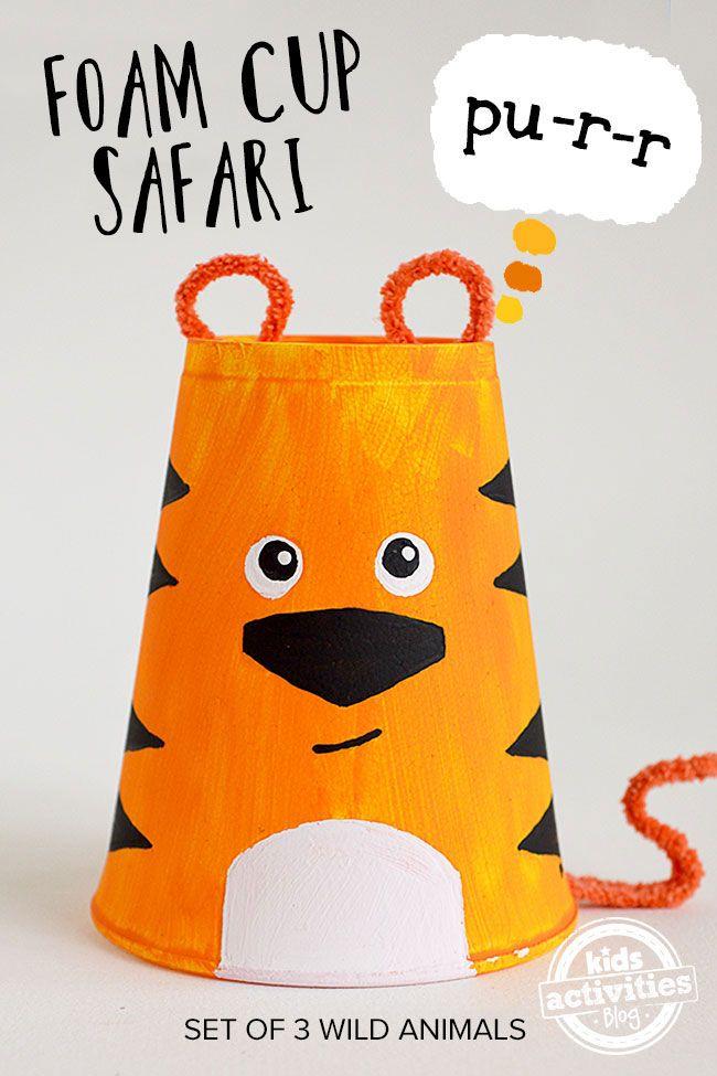 Foam Cup Crafts Set Of 3 Safari Animals Safari Crafts Animal