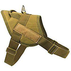 MEIKAI Tactical Service K9 Dog Harness Police Patrol Vest Training Molle Harness Vest Comfort Nylon (L, Coyote Brown)
