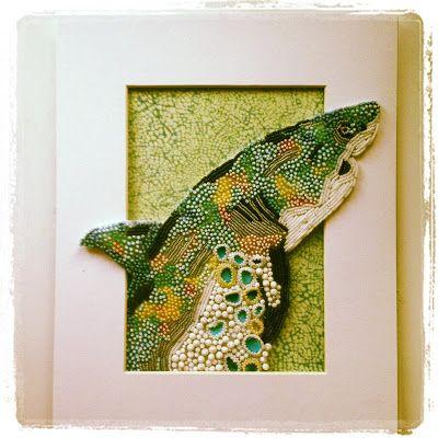 Eleanor Pigman: Seed Bead Embroidered Shark.