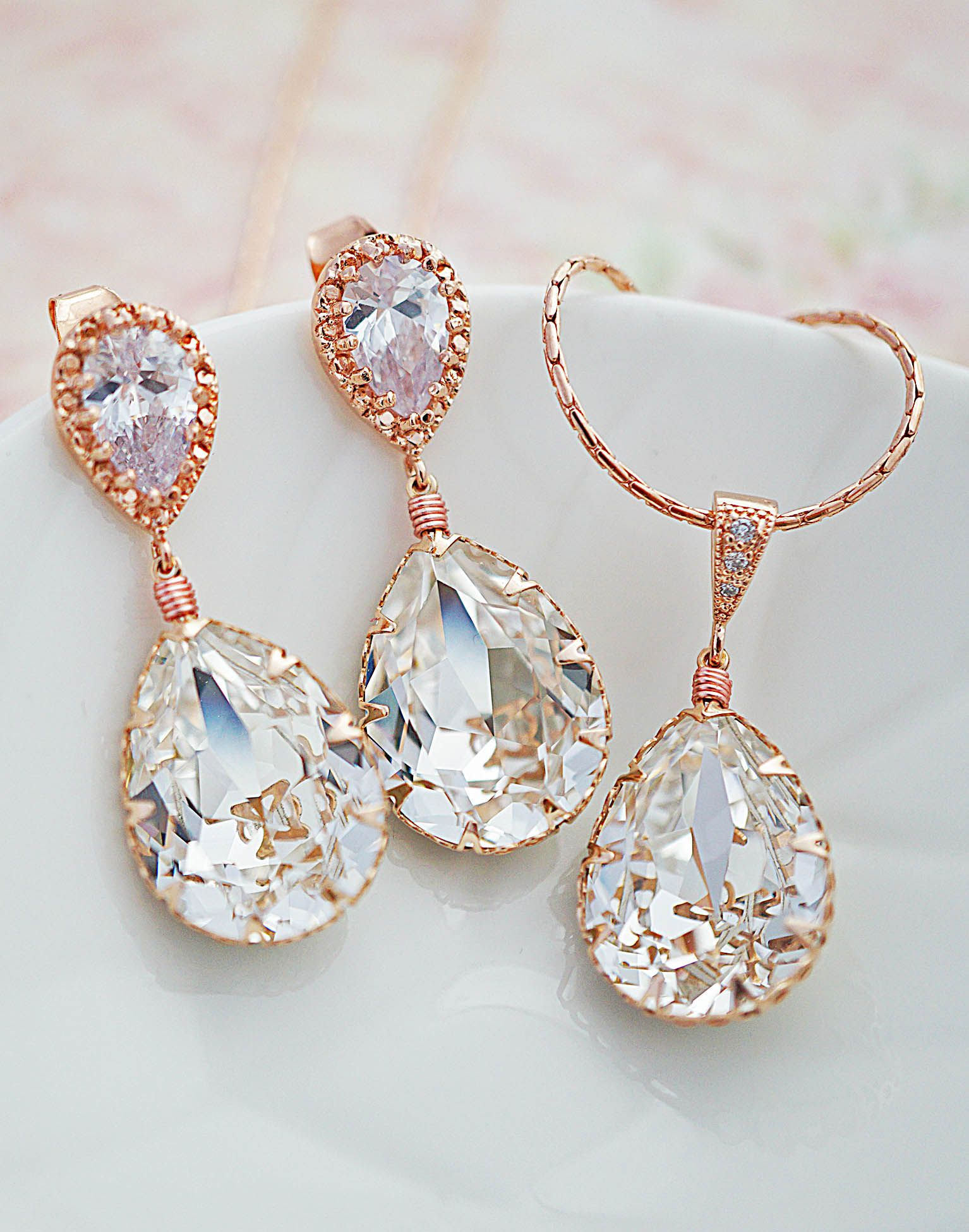 fde1d4c78 Swarovski Crystal Rose Gold Bridal Earrings and Necklace Jewelry set from EarringsNation  Wedding Earrings Rose Gold Weddings Blush weddings Bridal Jewelry ...