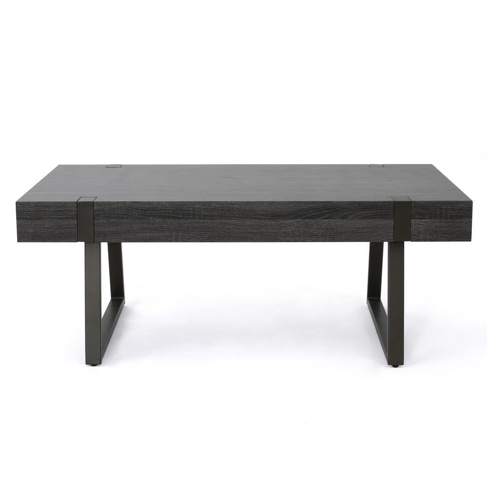 Noble House Oak Black Rectangular Wood And Metal Coffee Table
