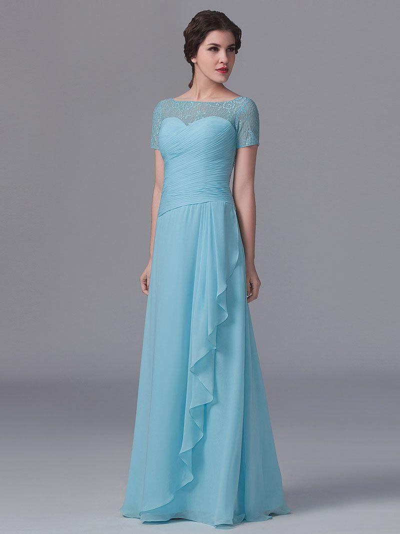 A-line Long Blue Lace Chiffon Short Sleeves Bridesmaid Dress ...