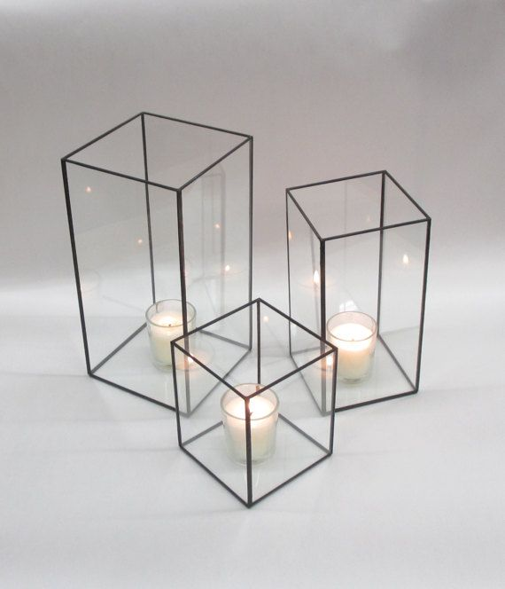 My Collection Of 5 And 4 Square Open Vessels Hurricane Lamps Were Featured As The Contents Of The 12 Cube P Hurricane Lamps Home Decor Modern Wedding Decor